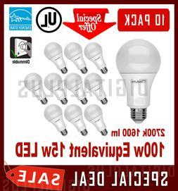 10 LED Light Bulbs MAXLITE 15W 1600 Lumens Soft White 2700K