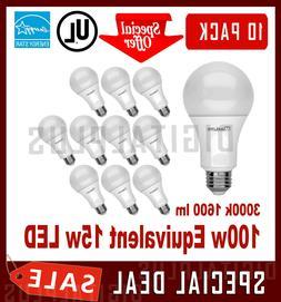 10 Pack LED Light Bulbs MAXLITE 15W 1600L Warm White 3000K A
