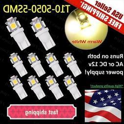 10 pack T5,T10 Wedge Bulb warm white  LED for Malibu 12V AC/