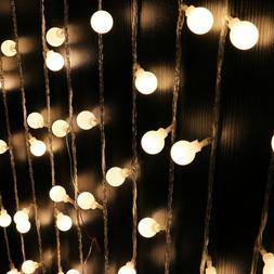 100 Led Globe Warm White Bulbs Frosted Christmas Outdoor Pat