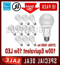 100W Equivalent 15W LED Light Bulbs 1600L Soft White 2700K A