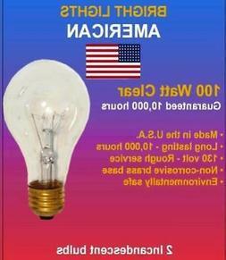 100watt Clear Rough Service, 10k hour, Incandescent Bulbs