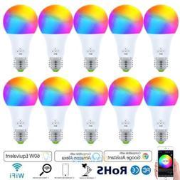 10PCS WiFi Smart Light LED Bulb Bulbs Dimmable RGB W/ Google