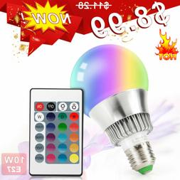 10W E27 Dimmable RGB LED Light Bulb 16 Color Changing Memory