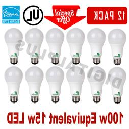 12 LED Light Bulbs GREENLITE 15W 100W Rep 1600L Warm White 3