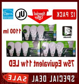 12 LED Light Bulbs GREENLITE 75w Equivalent 11w Warm White 3
