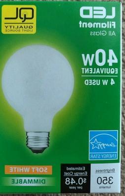 12 Pack 4 Watt LED G25 Filament  Energy Saving Bulbs 5000K,
