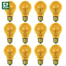 12 Pack Sunlite Incandescent Yellow A19 25W Light Bulbs with