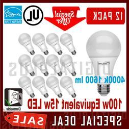 12 Pack LED Light Bulbs Maxlite 15W Cool White 4000K A19 E26