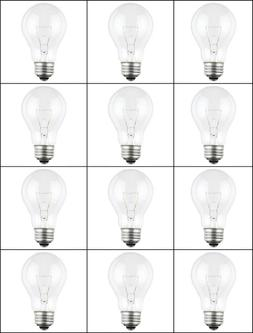 12-PK 100 Watt 120-130 Volt NEW Clear Westinghouse A19 LIGHT