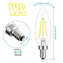 120VAC 2W Warm White COB LED E12 Base Candelabra Candle Chan