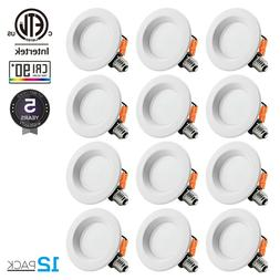 12PACK 10W 4inch Recessed LED Downlight Fixture Dimmable Kit