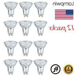 12PCS 5W GU10 LED Bulbs 6000K Daylight Spotlight Front Glass