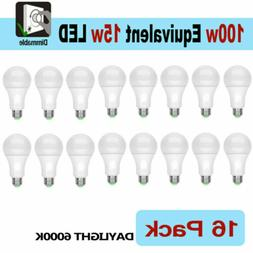 16 LED Light Bulbs 15W / 100W Replacement Daylight 6000K A19