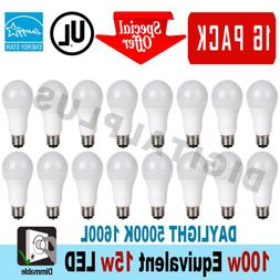 16 LED Light Bulbs 15W / 100W Replacement 1600L Daylight 500
