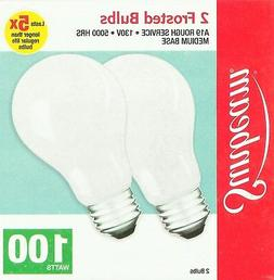 2 Sunbeam 100 watt ROUGH SERVICE LIGHT BULBS E26 100W incand