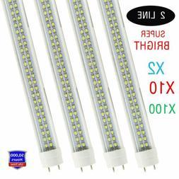 2-100X 4FT LED Light Bulbs T8 LED Tube 4 Foot 6500k 36W Doub