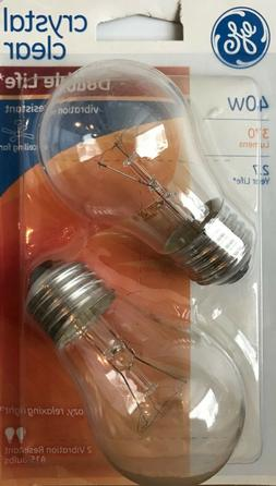 2 GE 40-Watt Clear A15 Vibration Resistant Double-Life Ceili