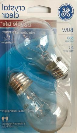 2 GE 60-Watt Clear A15 Vibration Resistant Double-Life Ceili