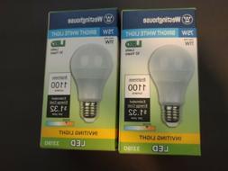 2 Westinghouse 75watt BRIGHT WHITE LED Light Bulbs 1100 Lume