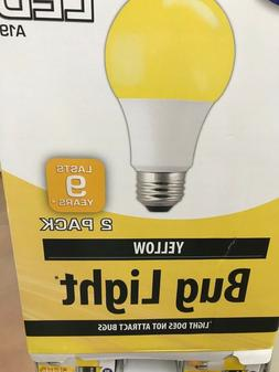 2 BUG light! YELLOW Color LED 60 Watt Equivalent 9W A19 E26