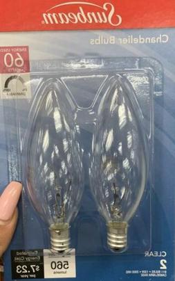 2 Clear CHANDELIER LIGHT BULBS 40 watt Candelabra E12 BASE D