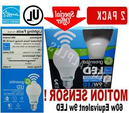 2 Motion Sensor Occupancy LED Bulbs 60w Equivalent 9w 3000k