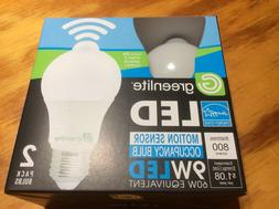 2 Motion Sensor Occupancy LED Bulbs 60w Equivalent 3000k Bri