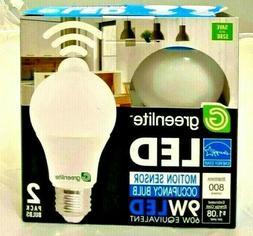 2 Motion Sensor Occupancy LED Bulbs 60w Equivalent 9w 3000k