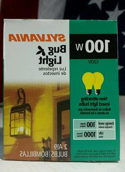100W YELLOW Insect BUG LIGHT bulbs SYLVANIA A19 - DIMMABLE