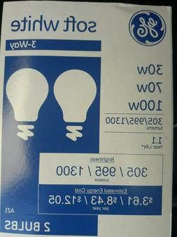 2 PACK GE 3-Way Soft White Light Bulbs 30/70/100 E26 Base Ne