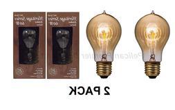 2 PACK 60 Watt Vintage Style Light Bulbs Amber A23 Heritage