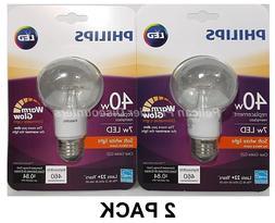 2 PACK Philips LED 40 Watt Equivalent 7 Watt Soft White Dimm