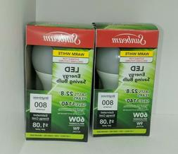 LED 9W  3000K Warm White 800 Lumens Indoor Light Bulbs NEW