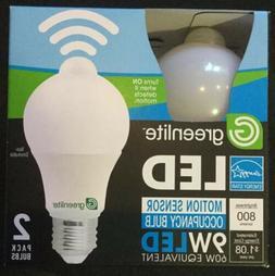 2 Pack of LED Motion Sensor Light Bulb Bulbs Soft White 9W=6