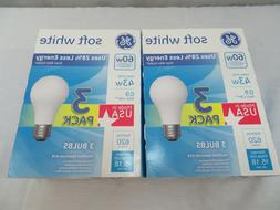 2 Packs GE 60-Watt Equivalent A19 Dimmable Soft White Haloge