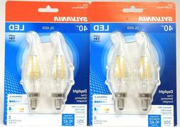 2 Packs Sylvania B10 Glass 40W LED Daylight 2 Ct Dimmable 35