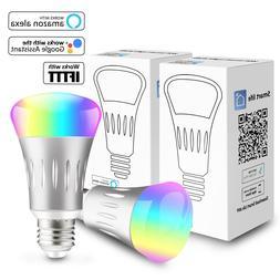 2 Pcs Smart Wifi Bulb E27 RGB LED Light Work With Google Hom