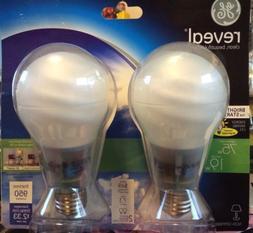 2 GE Reveal 75W Instant On Energy Saving Light Bulb