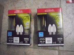 2 X 2PK Sunbeam 4W/40Watt LED Dimmable Decorative Candle Bul