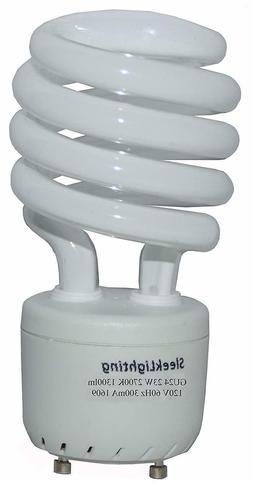 SleekLighting 23Watt T2 Spiral CFL Light Bulb 2700K 1300lm G