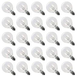 25 Pack - Clear G40 Globe Light Bulbs For Patio String Light