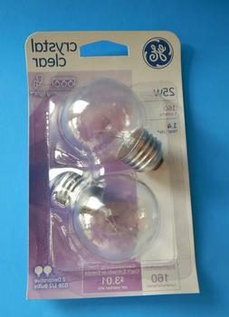 GE 25 Watt Crystal Clear G16 ½ 2-Pack Bulbs; NIP