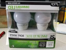 TCP 25 Watt Equivalent 2-pack, LED G16 Globe Light Bulbs, Me