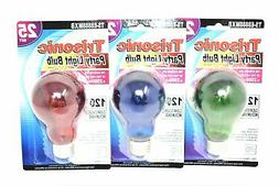 25 Watt Red, Green and Blue Party Light Bulbs, Set of 3