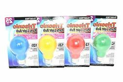 25 Watt Red, Green, Yellow and Blue Party Light Bulbs, Set o