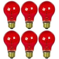 Sunlite 25A/TB/R/6PK Incandescent Red A19 25W Light Bulbs wi