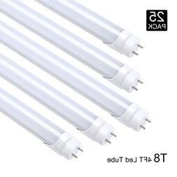 25Pcs 4' G13 2 Pin Led Light Bulbs Frost Cover 18W 4FT Bi-Pi
