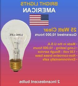 25watt Clear Rough Service, 10k hour, Incandescent Bulbs