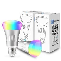 2Pack E27 RGB LED Wifi Smart Bulb Bulbs Light Work With Alex